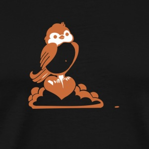 Valentine Robin with Heart - Men's Premium T-Shirt