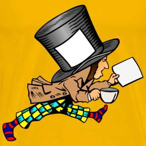 mad hatter with clean label on hat holding paper - Men's Premium T-Shirt