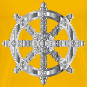 Chrome Ornate Dharma Wheel - Men's Premium T-Shirt