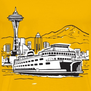 Space Needle and Ferry - Men's Premium T-Shirt