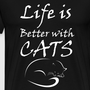 Life Is Better With Cats T-Shirts - Men's Premium T-Shirt
