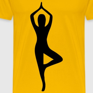 Female Yoga Pose Silhouette 15 - Men's Premium T-Shirt