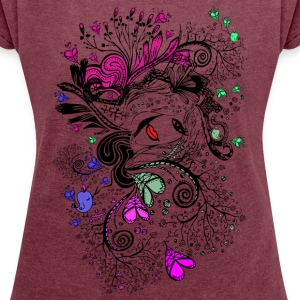 Secret garden doodle Women´s Rolled Sleeve Boxy T - Women´s Rolled Sleeve Boxy T-Shirt