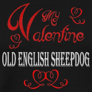 A romantic Valentine with my Old English Sheepdog - Men's Premium T-Shirt