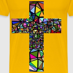 Low Poly Stained Glass Cross With Background - Men's Premium T-Shirt