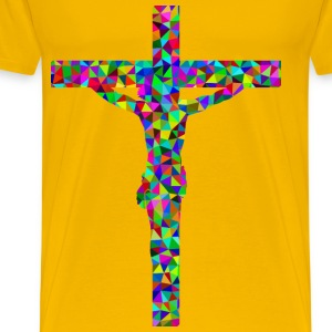 Prismatic Low Poly Crucifix - Men's Premium T-Shirt