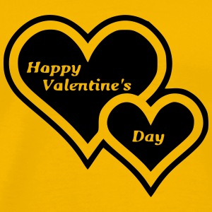 Happy Valentine s Day Two Hearts - Men's Premium T-Shirt