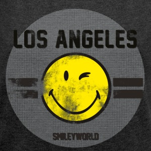 SmileyWorld Los Angeles Winking Smiley - Women´s Roll Cuff T-Shirt