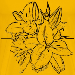 Street Flowers Woodcut - Men's Premium T-Shirt