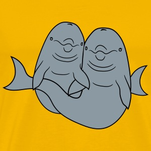 Delfin 2 friends couple couple in love love huggin T-Shirts - Men's Premium T-Shirt