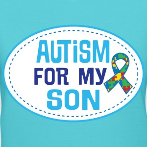 Autism Awareness For My Son Puzzle Ribbon T-Shirts - Women's V-Neck T-Shirt