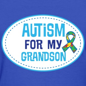Autism Awareness For My Grandson Puzzle Ribbon T-Shirts - Women's T-Shirt