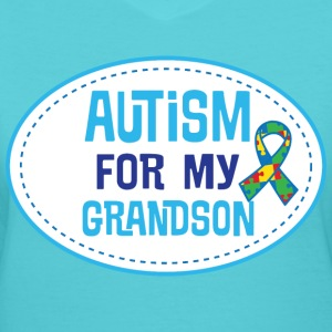 Autism Awareness For My Grandson Puzzle Ribbon T-Shirts - Women's V-Neck T-Shirt