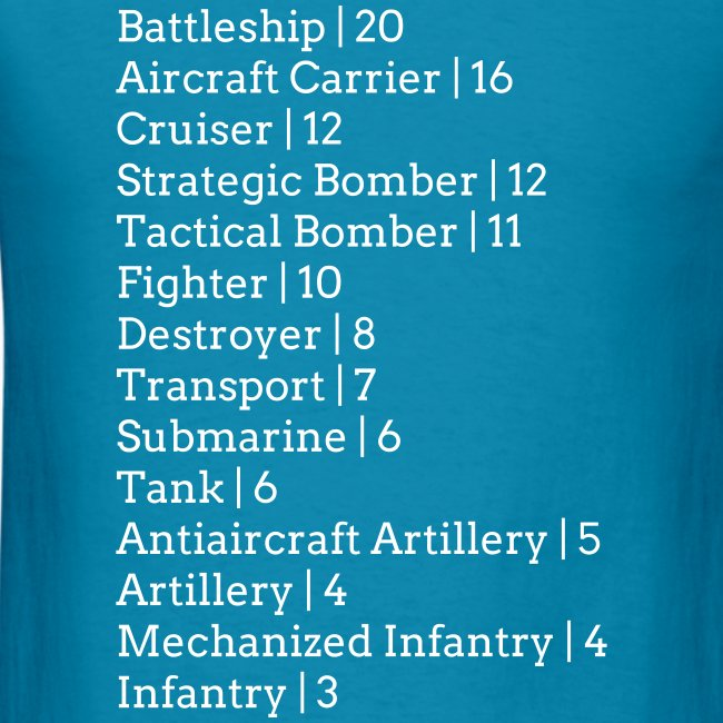 Axis & Allies 1940 Unit Pricing T-Shirt