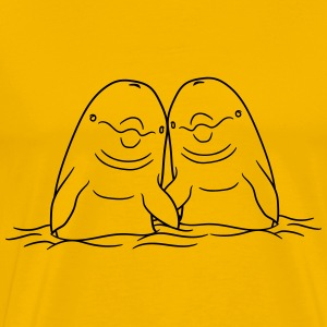 2 friends couple couple love in love holding water T-Shirts - Men's Premium T-Shirt