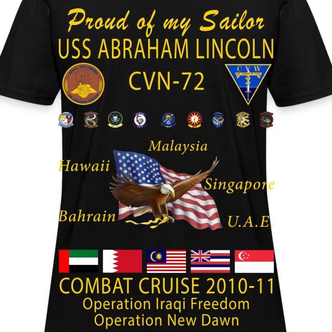 USS ABRAHAM LINCOLN CVN-72 COMBAT CRUISE 2010-11 CRUISE SHIRT - FAMILY EDITION - WOMEN'S