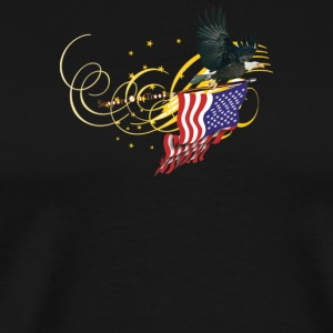 Eagle carrying American Flag - Gold - Men's Premium T-Shirt