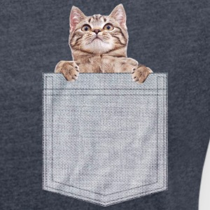 Pocket Cat Peeking Kitten T-Shirts - Women's Roll Cuff T-Shirt