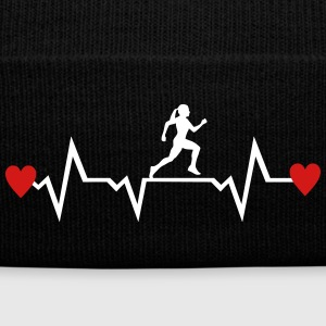 Running Woman & Heartbeat & Hearts Sportswear - Knit Cap with Cuff Print