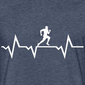 Running Man & Heartbeat T-Shirts - Fitted Cotton/Poly T-Shirt by Next Level