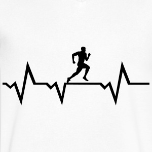 Running Man & Heartbeat T-Shirts - Men's V-Neck T-Shirt by Canvas