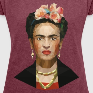 Frida khalo women red wine T-shirt - Women´s Roll Cuff T-Shirt