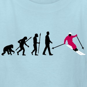 evolution_of_man_skiing_a_3c Kids' Shirts - Kids' T-Shirt