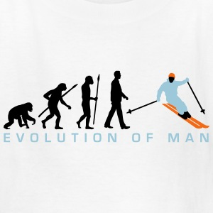 evolution_of_man_skiing_b_3c Kids' Shirts - Kids' T-Shirt