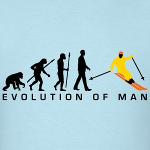 evolution_of_man_skiing_c_3c T-Shirts - Men's T-Shirt
