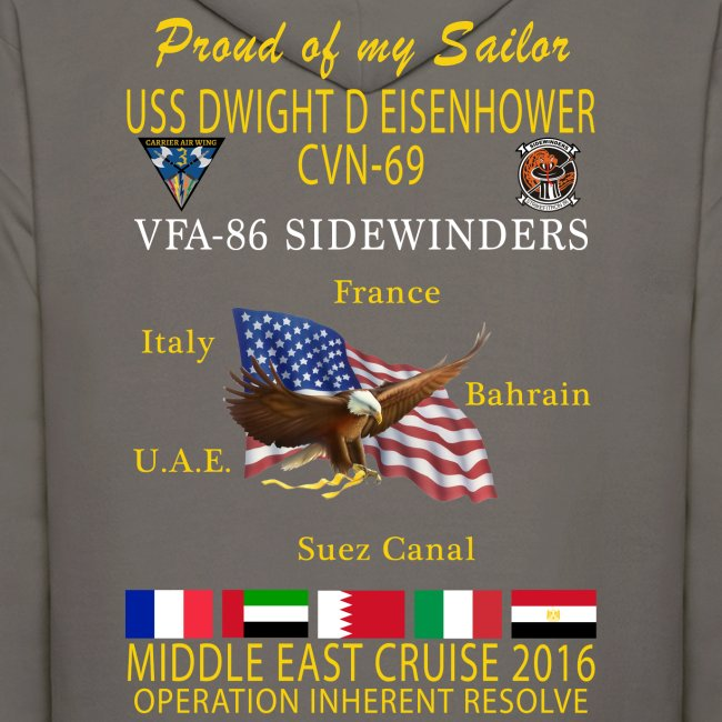 IKE AIRWING - VFA-86 SIDEWINDERS 2016 CRUISE HOODIE  (50/50)- FAMILY