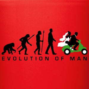 evolution_of_man_wedding_scooter_c3c Mugs & Drinkware - Full Color Mug