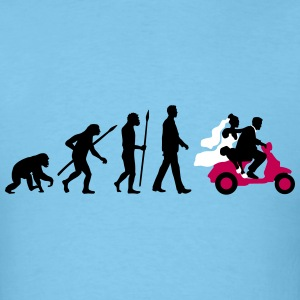 evolution_of_man_wedding_scooter_a3c T-Shirts - Men's T-Shirt