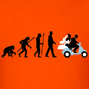 evolution_of_man_wedding_scooter_b3c T-Shirts - Men's T-Shirt