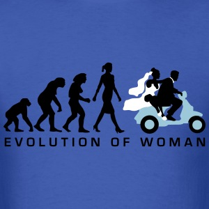evolution_of_woman_wedding_scooter_c3c T-Shirts - Men's T-Shirt