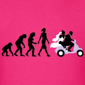 evolution_of_woman_wedding_scooter_b3c T-Shirts - Men's T-Shirt