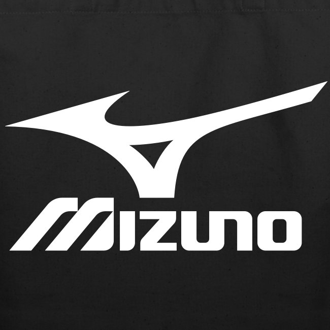 Mizuno Sports (white logo) Black Tote Bag | Eco-Friendly Cotton Tote