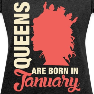 Born In January T-Shirts - Women´s Rolled Sleeve Boxy T-Shirt