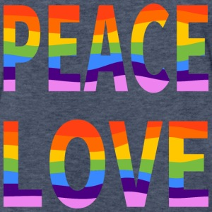 LGBT Peace Love Men's Fitted Heather Navy Blue Tee - Fitted Cotton/Poly T-Shirt by Next Level