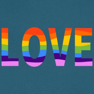 LGBT Pride Rainbow Love Men's V-neck Teal Tee - Men's V-Neck T-Shirt by Canvas
