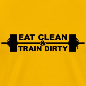 Weight lifting train dirty text logo cool stamp co T-Shirts - Men's Premium T-Shirt