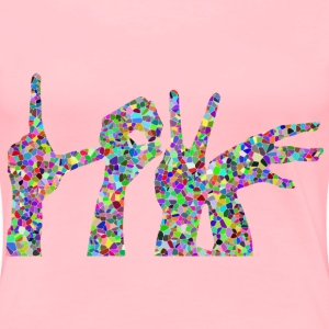 Prismatic Tiled Love Hands Silhouette - Women's Premium T-Shirt