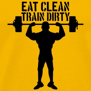 Eat clean train dirty text logo stars cool stamp c T-Shirts - Men's Premium T-Shirt