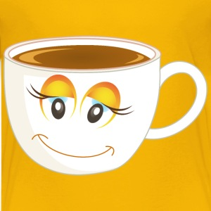 Anthropomorphic Happy Female Cup Of Coffee Or Tea  - Kids' Premium T-Shirt