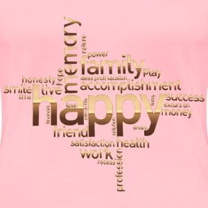 Happy Family Word Cloud No Background - Women's Premium T-Shirt
