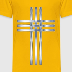 Interlocked Stylized Titanium Cross No Background - Kids' Premium T-Shirt