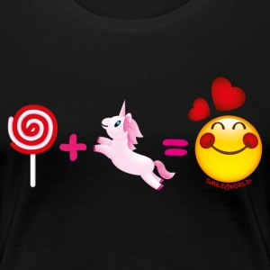 SmileyWorld Lollipop Plus Unicorn Equals Love - Women's Premium T-Shirt