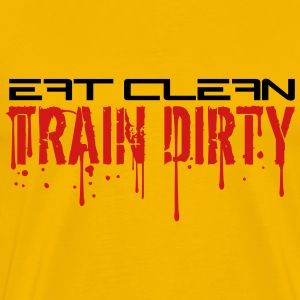 Eat clean keep train dirty text logo cool stamp co T-Shirts - Men's Premium T-Shirt