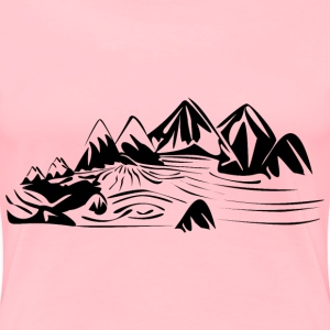 Wild river in rocky landscape black and white - Women's Premium T-Shirt