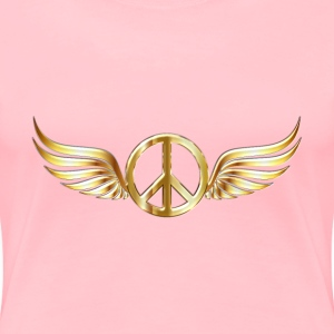 Gold Peace Sign Wings Enhanced 2 No Background - Women's Premium T-Shirt