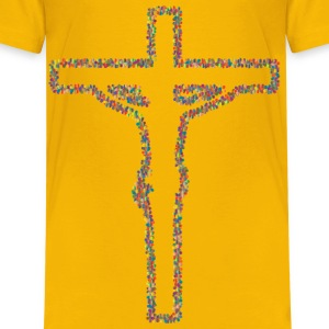 Prismatic Floral Crucifix Outline 3 - Kids' Premium T-Shirt